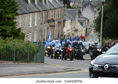 Inverness, Scotland United Kingdom – JULY 28, 2018: A line of pro-independence 'Yes Bikers'  on View Place as part of the All Under One Banner March for Independence in Inverness by S Fraser