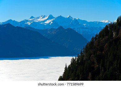 Inversion with a sea of fog over lake Alpnachersee, view at the Uri Alps, Alpnach, Schweiz