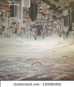 Invert city upside down. Future modern business industry concept: Big city on amazing sky  at Bangkok, Thailand, Asia