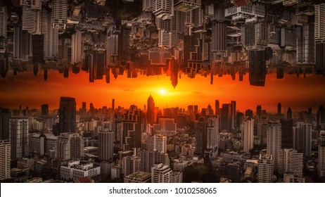 Invert City upside down with sunlight passing through at sunset