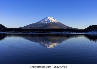 an inverted image of mt.fuji