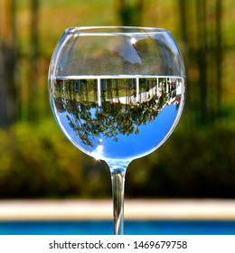 An inverted image of tropical palm trees seen in a wine glass isolated against a blurred background of greenery and water.