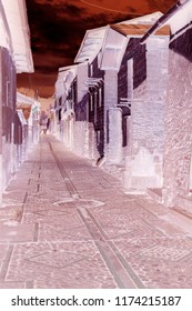 Inverted photo of a street at town of Carani, Yauyos province of Lima in Perú