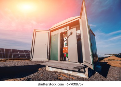 Inverter and store energy building. Solar cell park. Background