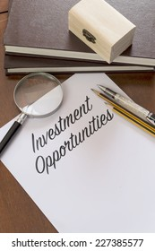 Invesment Opportunities word on plain paper