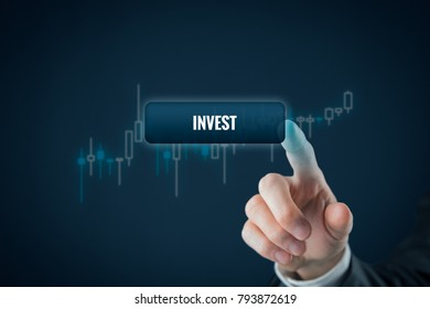 Invest concept. Investor (trader) click on button with text invest. Tradeview graph on background.