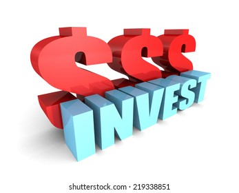 INVEST concept word with red dollar currency symbols. 3d render illustration