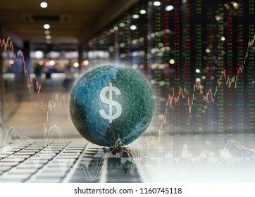 invest currency stock market exchange concept. global business with index trading graph and candlestick chart on price board stocks.