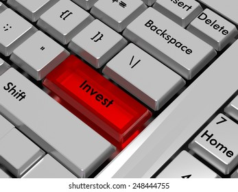 Invest.Red hot key on computer keyboard