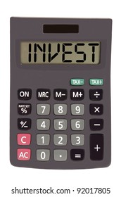 invest on display of an old calculator on white background