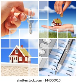 Invest in real estate concept. Collage.