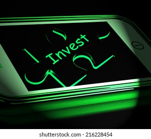 Invest Smartphone Displaying Investment In Company Or Savings