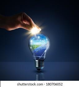 invest in solar energy -  concept - sun in bulb