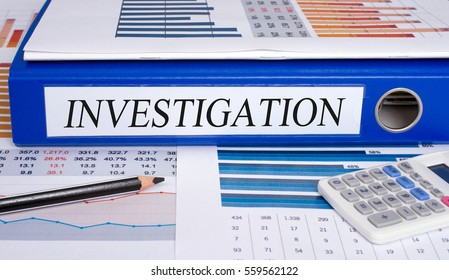 Investigation Binder in the Office with Statistics and Calculator