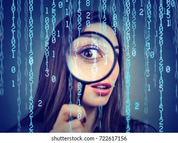 Investigation surveillance of cyber crime concept. Curious woman looking through a magnifying glass and computer binary code background