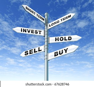 investing guidance stock trading buy sell hold confusion directions traffic street sign