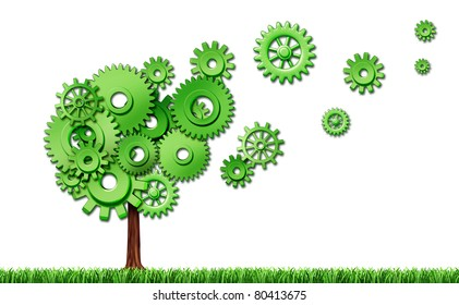 Investing in new emerging markets representing new investments in industry and seed money for business represented by a tree made of cogs and gears that are flaoting plant floating in the air.