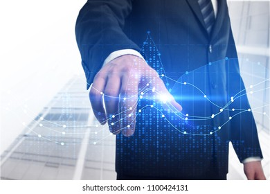 Investment, broker and currency concept. Businessman on abstract city background with forex chart. Double exposure