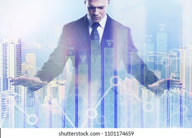 Investment, broker and growth concept. Businessman on abstract city background with forex chart. Double exposure