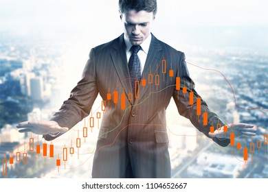 Investment, broker and internet concept. Businessman on abstract city background with forex chart. Double exposure