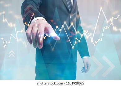 Investment, broker and profit concept. Businessman on abstract city background with forex chart. Double exposure