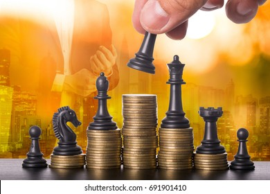 Investment business for growth invest your money with chess concept.