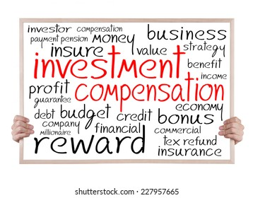 investment compensation and other related words handwritten on whiteboard with hands