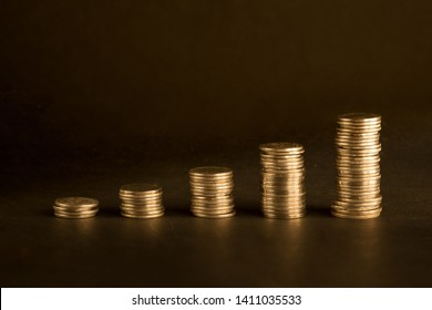 Investment concept background with graph made of coins