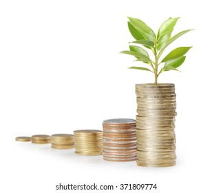 Investment concept, Coins graph stock market
