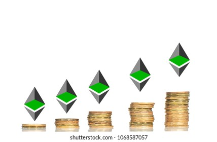 Investment concept with  Ethereum over coin stacks bart chart profitable graph