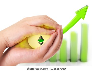 Investment concept with hands holding Ethereum golden egg against bart chart profitable graph