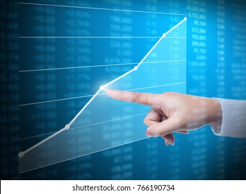 Investment concept,hand with financial chart symbols coming from hand
