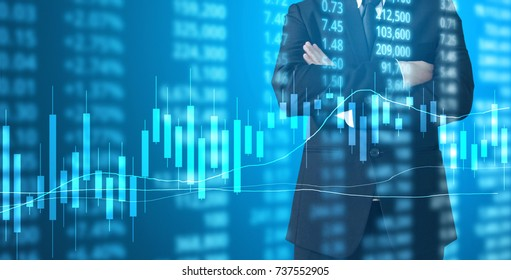 Investment concept,hand with stock financial chart symbols coming from hand