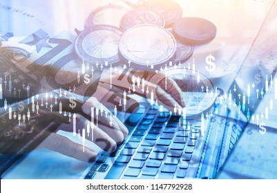 investment double exposure concept, financial charts for business analytics, dollar money and hands typing on computer, blue background