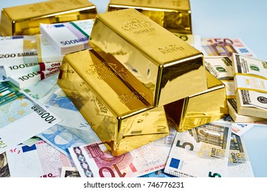 Investment in gold.Money and Gold. gold bullions. Financial concept
