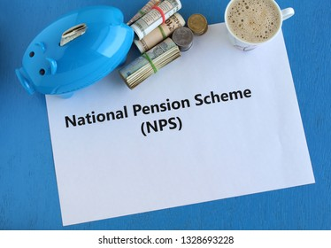 Investment of Indian rupees in National Pension Scheme (NPS) concept, for regular income after retirement and for tax benefits, highlighted with piggy bank, cash and coffee.