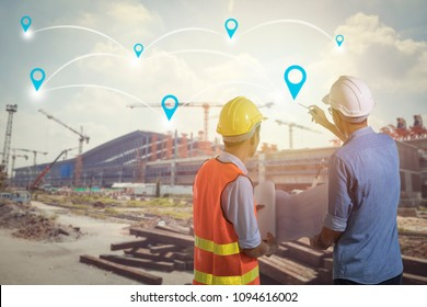 Investment of industry concept, Engineer and worker planning and pointing to connection line of building construction