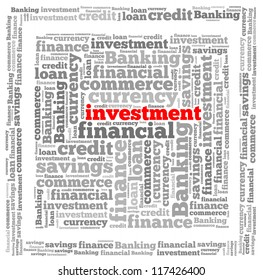 Investment info-text graphics and arrangement concept on white background (word cloud)