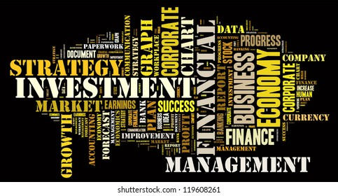 investment info-text graphics arrangement concept composed in words cloud on black background