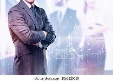 Investment and marketing concept. Businessman with abstract forex chart on glowing city background. Double exposure
