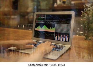 investment portfolio and financial analysis report on screen laptop computer with index stock market and financial advisor working. concept of invest.