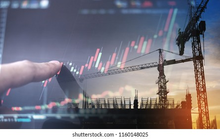 Investment in real estate business. Double exposure,  finger pointing on raising graph and building construction