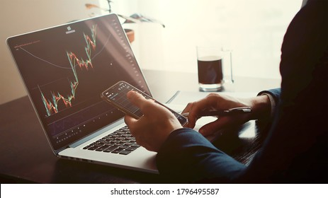 investment stockbroker profit analysis. Stock trading graph price prediction and profit gain. Trade graph chart bitcoin. Financial manager workplace desk