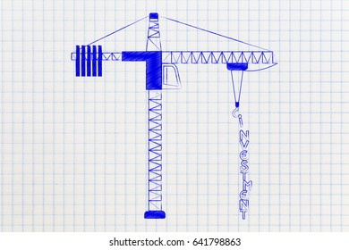 Investment text being build by a tower crane, conceptual illustration