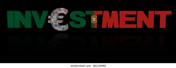 Investment text with euro symbol and Portuguese flag illustration