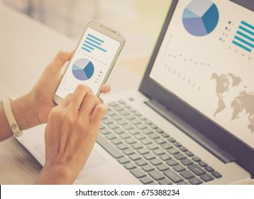 Investor analyzing stock market investments with financial dashboard, business intelligence on smartphone and computer screens / soft focus picture / Vintage concept