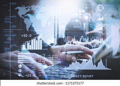 Investor analyzing stock market report and financial dashboard with business intelligence (BI), with key performance indicators (KPI).Coworking process, entrepreneur team working in creative office