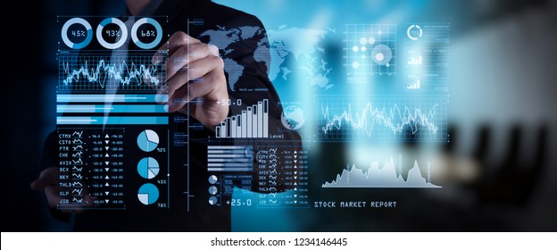 Investor analyzing stock market report and financial dashboard with business intelligence (BI), with key performance indicators (KPI).businessman hand working with finances program on wide screen