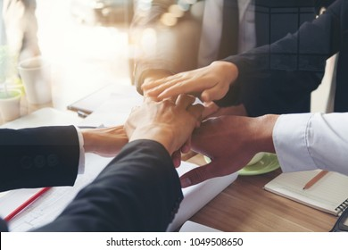 Investor Business team Handshake with Partner Vendor, Collaboration of CEO Leader Hand Shaking for Agreement Trusted Teambuilding Partnership and Alliance. TEAMWORK vision mision