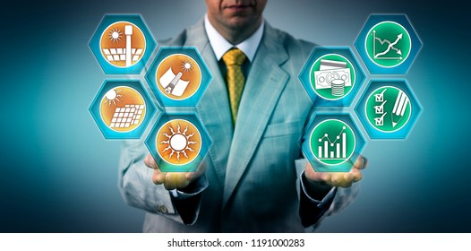 Investor is evaluating the return on investment of solar power sectors. Industry and business concept for sustainable development, solar energy, CSP, environmental conservation, efficiency, ROI.